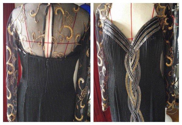 【ドレスのリメイク】ベアトップドレスにレースの袖をつけてゴージャスに変身♪